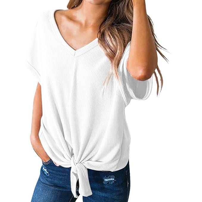Camisa de Manga Corta Mujer Vino, XXL, Covermason Camiseta sin Mangas con Cuello en Pico para Mujer con Escote en Pico sólido: Amazon.es: Ropa y accesorios