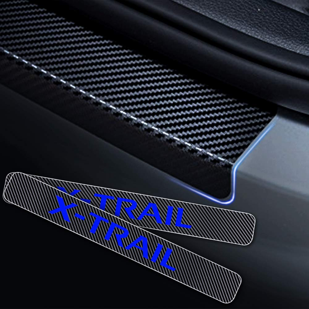 For X-TRAIL 4D M Car Pedal Covers Door Sill Protectors Entry Guard Scuff Plate Trims Anti-Scratch Reflective Carbon Fiber Stickers Auto Accessories Exterior Styling 4Pcs Red