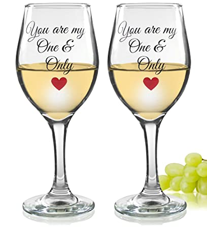 Amazon Love Wine Glasses You Are My One And Only Standard