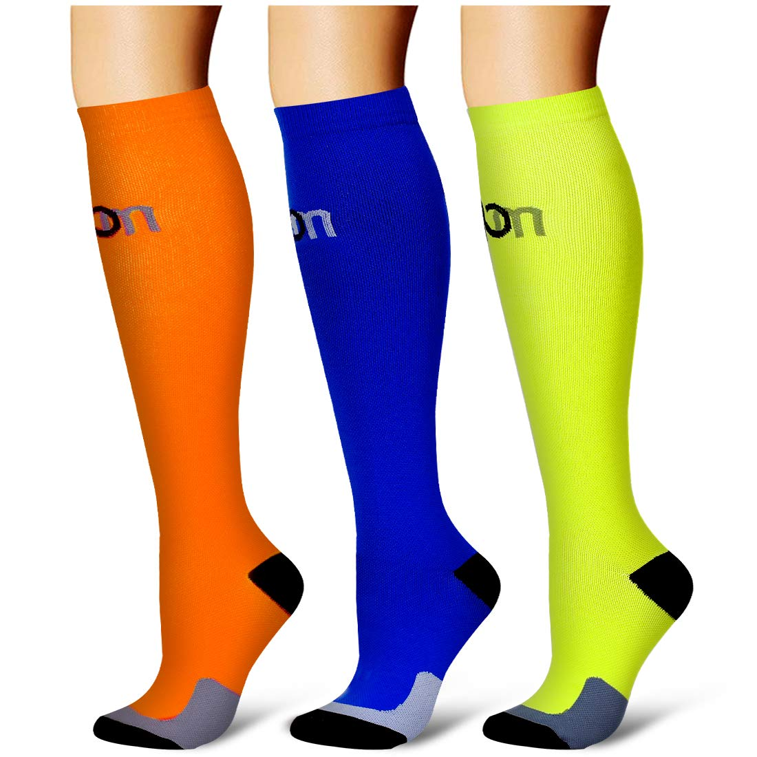 Laite Hebe Compression Socks,(3 Pairs) Compression Sock for Women & Men - Best for Running, Athletic Sports, Crossfit, Flight Travel(Multti-colors5-S/M) by Laite Hebe