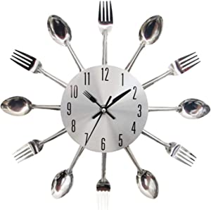 BCBKD 12 Inch Small Kitchen Wall Clocks with Spoons and Forks Great Home Decor and Nice Gifts Silver