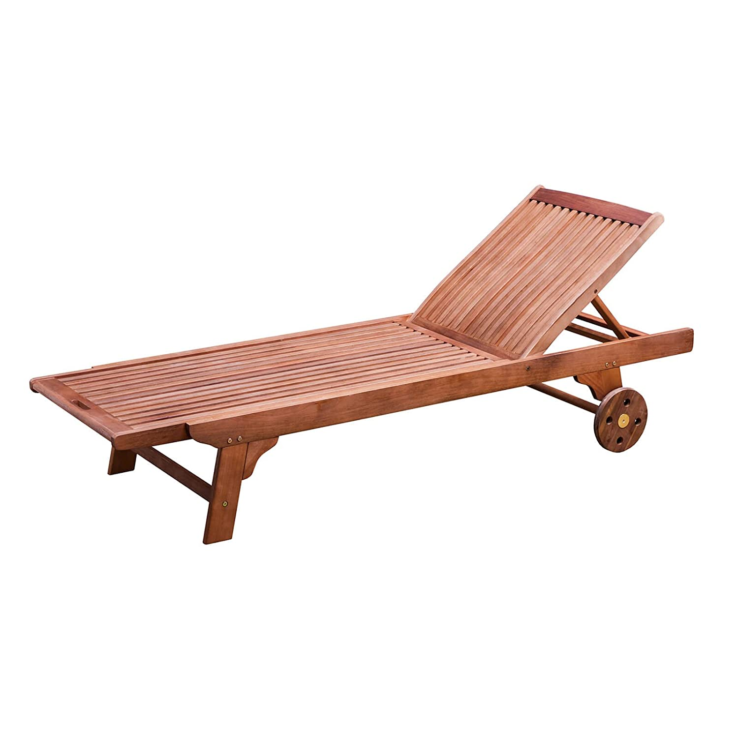 Alfresia Wooden Sunlounger with Wheels