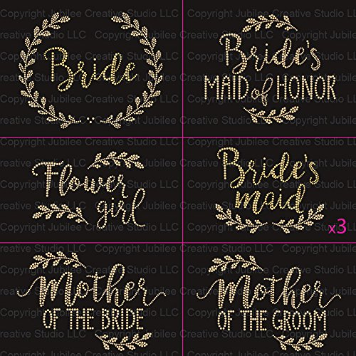 Party Pack Decal (Laurel Gold Wedding Pack 9 Pc Bride Iron on Rhinestud T-shirt Transfers By Jubilee Rhinestones)