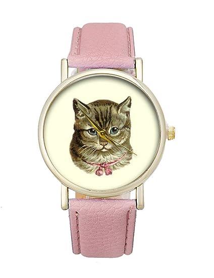 Mujeres Cute Gato Reloj limpieza Lady niñas kawaii Hello Kitty reloj de pulsera de cuarzo correa de cuero para regalo: Amazon.es: Relojes