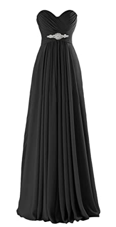 VaniaDress Women Sweetheart Long Bridesmaid Dress Evening Prom Gowns V005LF Black US2