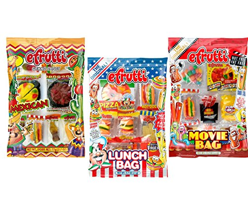 eFrutti Original Mini Gummi Lunch Bag, Movie Bag & Mexican Dinner Bag Bundle - 2.7oz Each (3 Pack, 1 of (Gummy Popcorn)
