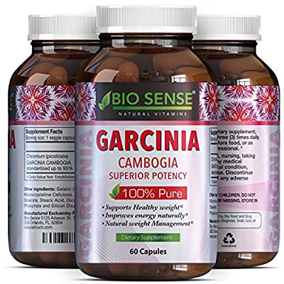 Potent Garcinia Cambogia 95 HCA - Pure Weight Loss Pills For Men And Women - Improve Energy And Focus - Appetite Suppressant + Burn Belly Fat - Garcinia Cambogia Extract By Bio Sense