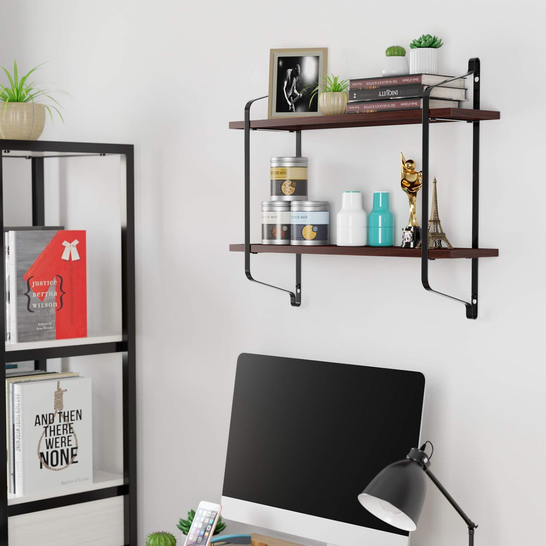 Homfa Floating Shelves Wall Mounted, 2 Tier Wood Storage Shelves Iron Rack  for Bedroom, Bathroom, Living Room, Kitchen, Espresso