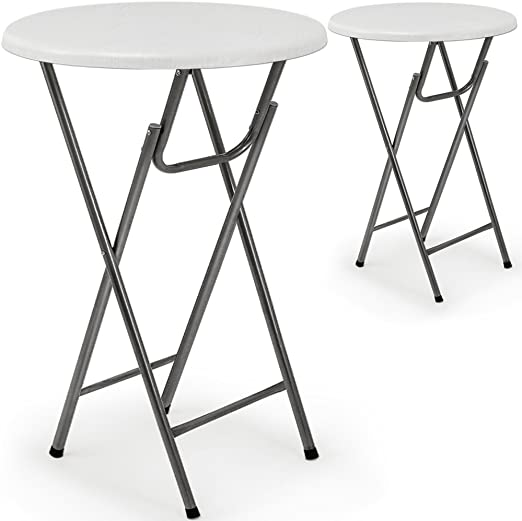 2 x Mesa Alta Plegable – Mesa de bar plegable en MDF blanco ...