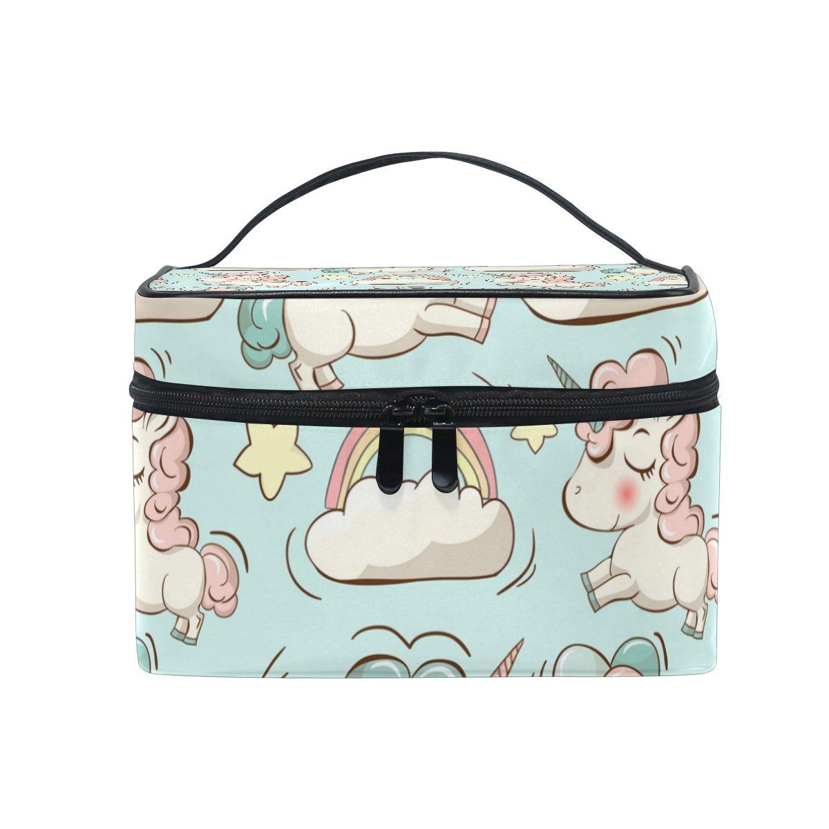 Coosun unicorni e nuvole modello in tela, viaggio trousse da borsa maniglia superiore singolo strato multifunzione organizer per cosmetici di trucco per donne