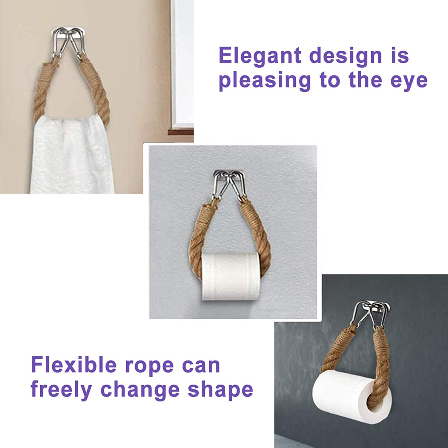 Nautical Rope Toilet Paper Holder Antique Industrial Style Toilet Roll Holder Wall Mounted Towel Rack Bathroom Decor Accessories Bath Towel Rings