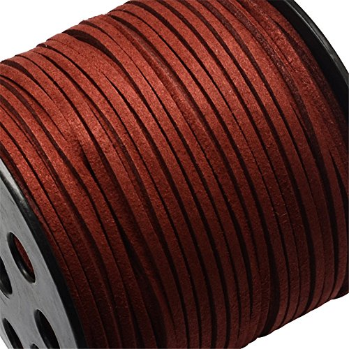 Pandahall 90m/295feet/98yard/roll 3x1.4mm Faux Suede Cord Roll String Leather Lace Beading Thread Suede Lace Lether Cording for Jewelry Makings DarkRed