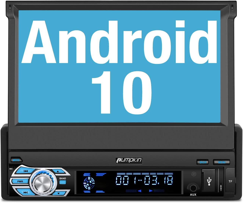 "PUMPKIN Android 10 Radio 1 DIN con GPS Navegador, Autoradio Soporte Bluetooth, Control Volante, WiFi, USB, SD, Mirror-Link, con 7"" Pantalla Táctil"