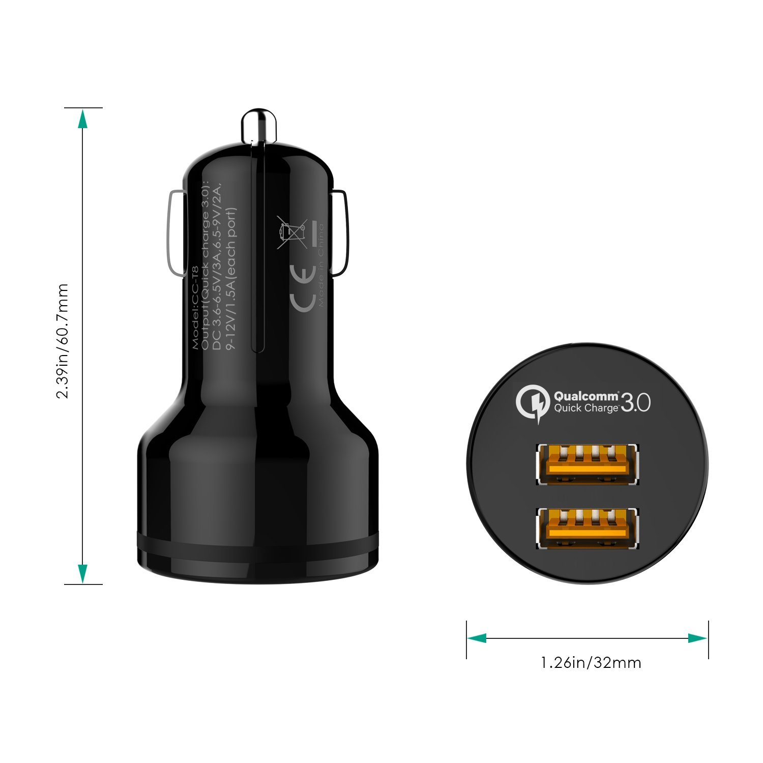 AUKEY Car Charger with Quick Charge 3.0, 39W Dual Ports for Samsung Galaxy Note8 / S9 / S8 / S8+, LG G6 / V30, HTC 10 and More   Qualcomm Certified by AUKEY (Image #6)