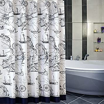 Uforme Sea Theme Nautical Shower Curtain Mildew Resistant Durable Polyester Fabric Bathroom Water Repellent