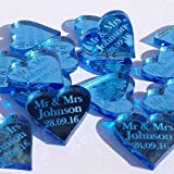 50 Small (2cm) Personalised Mr & Mrs Lucky Love Hearts Bridal Wedding Favours and Table Sprinkles / Confetti - Good luck charm - Acrylic - LittleShopOfWishes (Pale Blue Mirror)