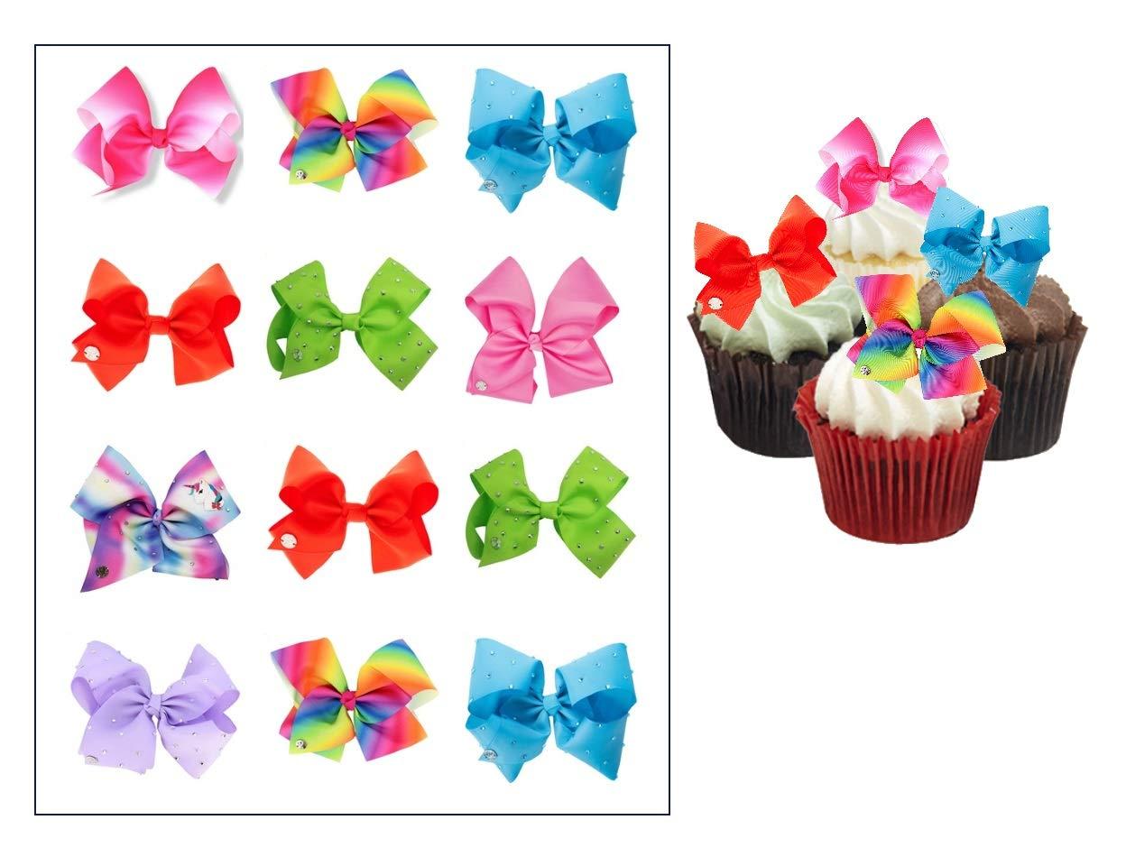 EDIBLE Jojo Siwa Bows ~ Cupcake Topper ~ Edible Frosting Image ~ Wafer Paper ~ Rice Paper Jojo Siwa cupcake toppers ~ Party Supplies by Pink Owl Edible Art