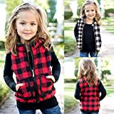 Baby Girls Red Black Plaid Jacket Sleeveless Vest