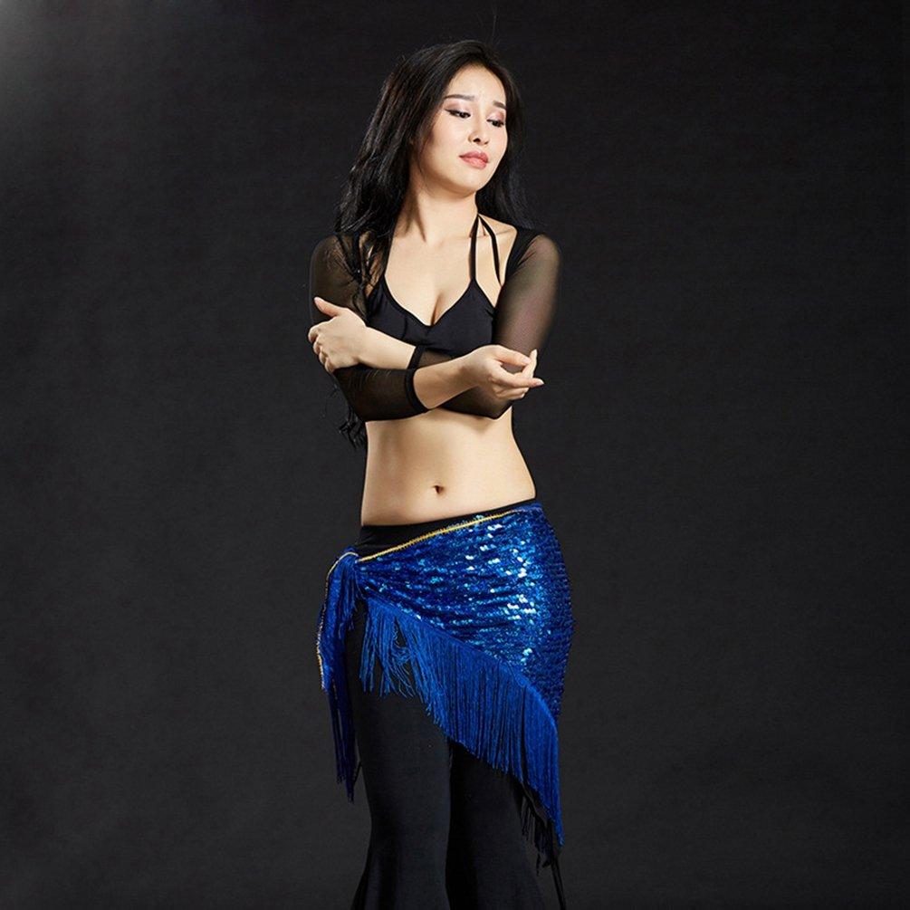 YuanDian Femmes Triangle Ceinture Danse Du Ventre Hanche Ch/âle /écharpe Paillettes Brillantes Tassel Professional Mermaid Tribal Arabian Oriental Belly Dance Cha/îne De Taille