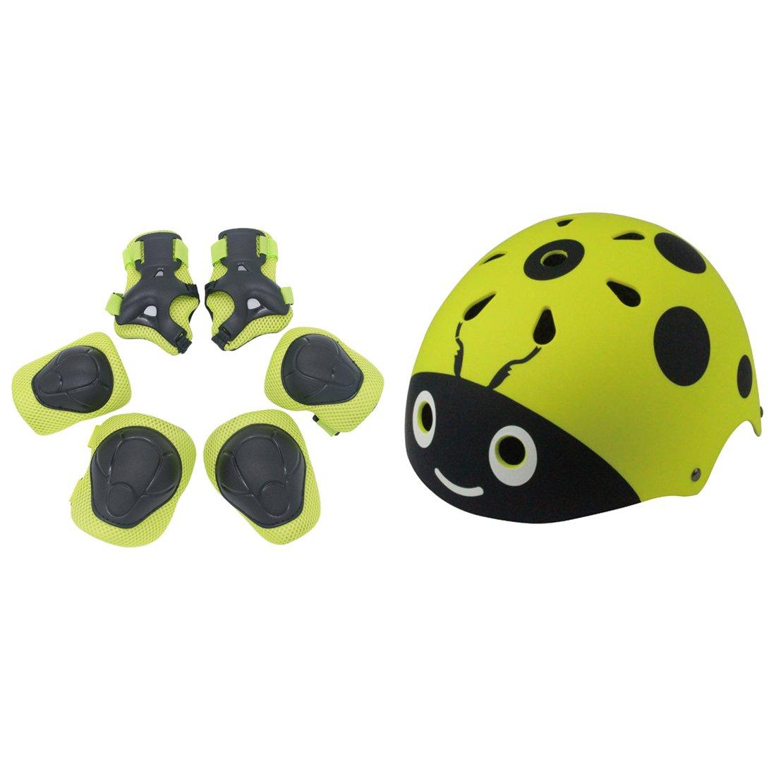 Lommer - Juego de casco infantil (7 piezas, ajustable, con codera en la rodilla, para ciclismo, patinaje, scooting para niñ os y niñ as), azul, 7Pcs scooting para niños y niñas)