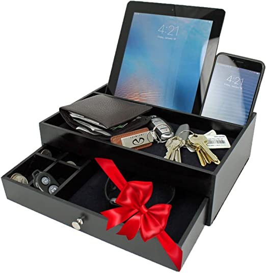 keys man/'s valet or jewelry chest to hold watch stuff and clutter to keep desktop or office surface neat and tidy cellphone Wooden box