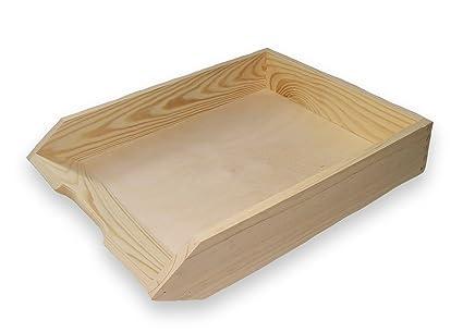 Cesta, bandeja, estantería de madera, madera de pino sin tratar, apilable