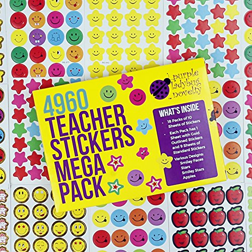 Teacher Stickers For Kids Mega Pack- Purple Ladybug Novelty, 4960 Reward Stickers & Incentive Stickers for Teachers Classroom & School Bulk Use! Includes Smiley Face Stickers & Star Stickers! (Gold Fancy Star)