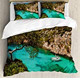 Nature Duvet Cover Set by Ambesonne, Small Yacht Floating in Sea Majorca Spain Rocky Hills Forest Trees Scenic View, 3 Piece Bedding Set with Pillow Shams, King Size, Green Aqua Blue