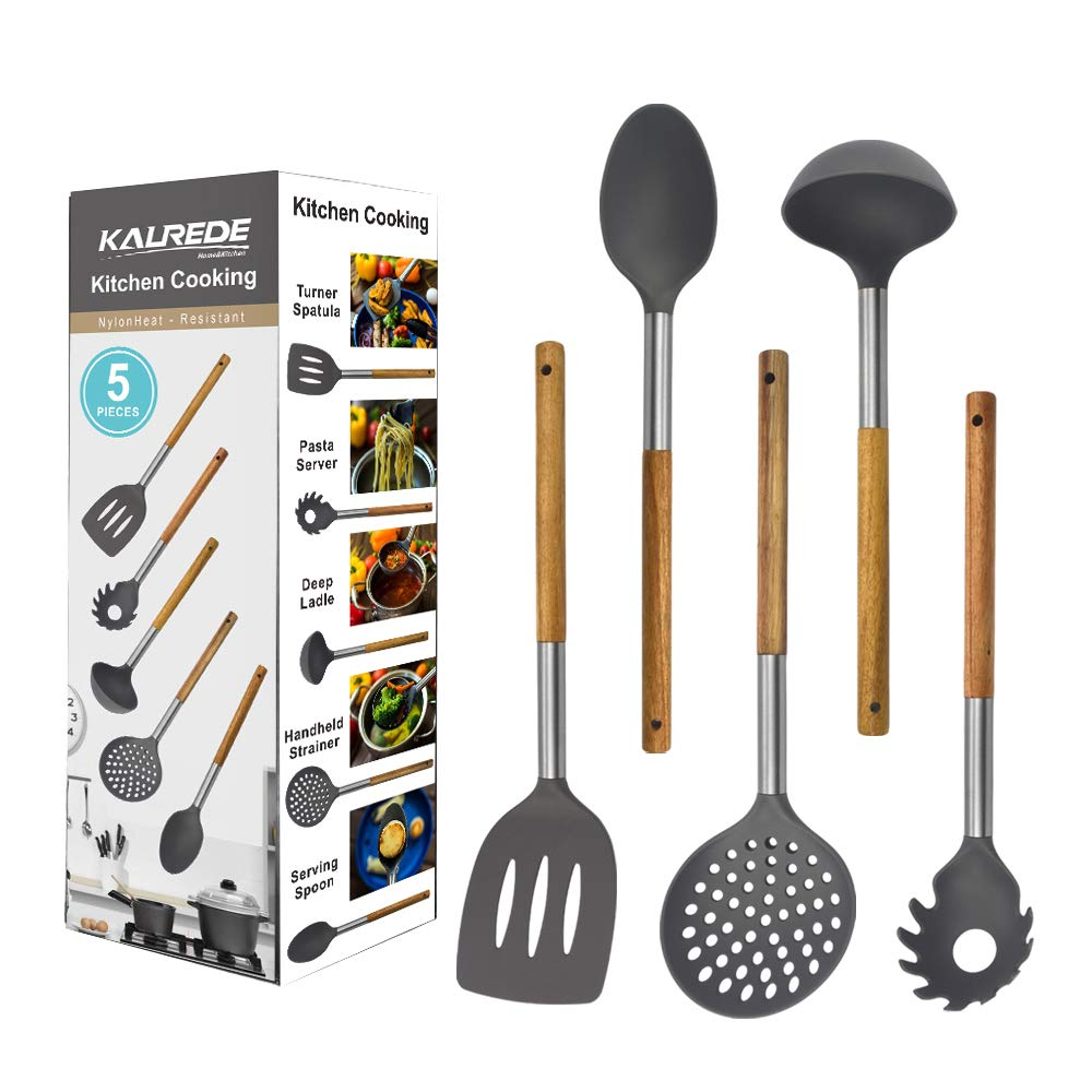 KALREDE Kitchen Utensils Set 5 Piece - Non Stick Nylon Cooking Utensils Set –Heat Resistant Kitchen Tools Set with Wooden Handle including Spatula, Pasta Server, Deep Ladle, Strainer and Spoon( Gray