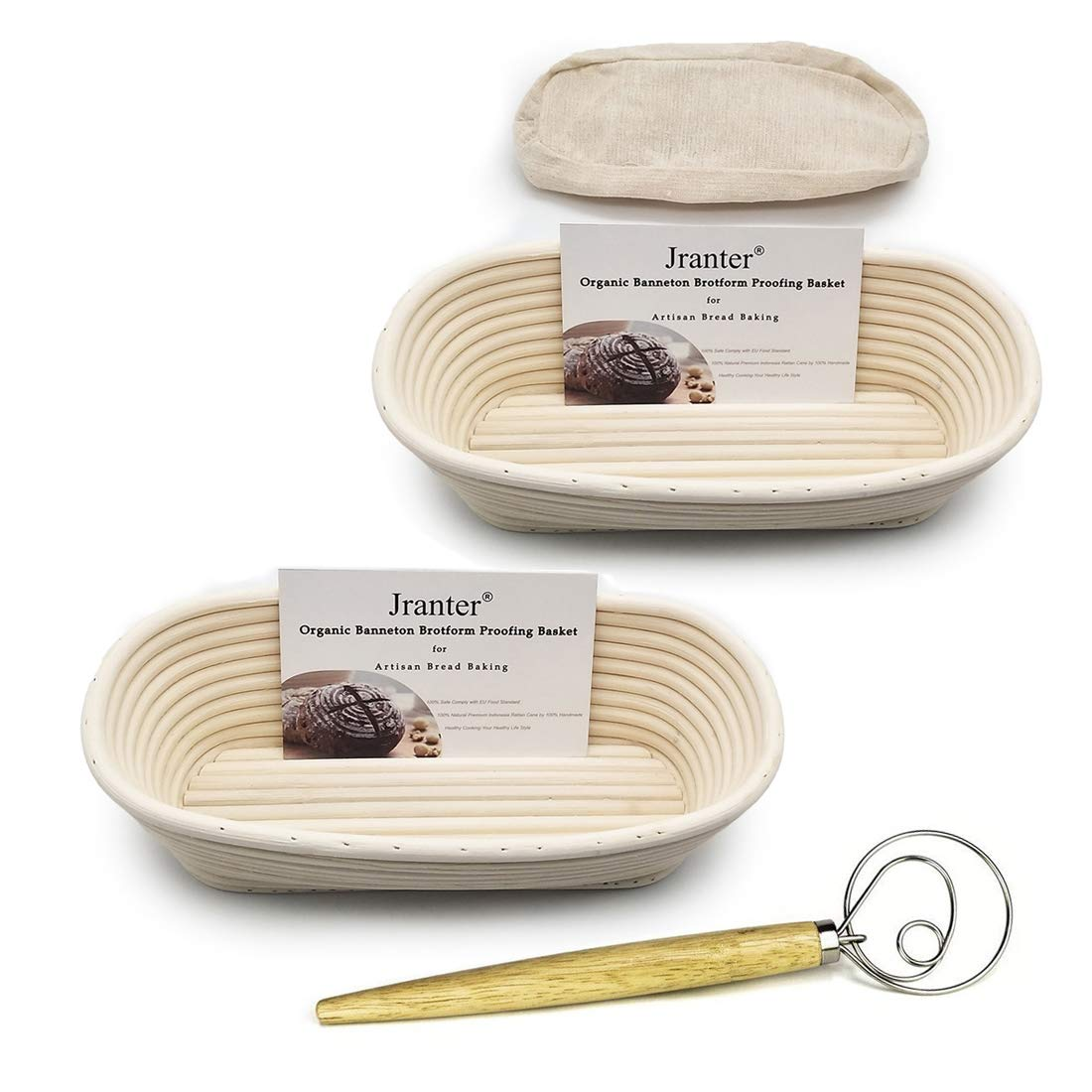 11 Inch Oblong Banneton Bread Proofing Basket and Linen Liner Set 2 Pack and One Whisk by Jranter