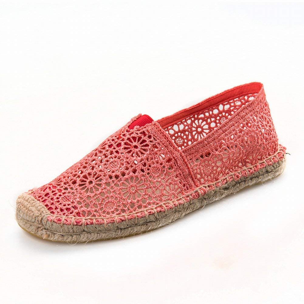 Oudan Frauen Frauen Frauen Schuhe Leinen Unteren Spitze Mesh-Oberfläche Hohl Atmungsaktiv Freizeitschuhe Damenschuhe (Farbe   Pfirsich Größe   39) b0c333