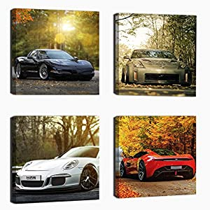 Cairnsi 4 Piece Modern Framed Landscape Artwork Giclee Canvas Prints Pictures Paintings on Canvas Wall art for Living Room Bedroom Home Office Decorations,Sports car