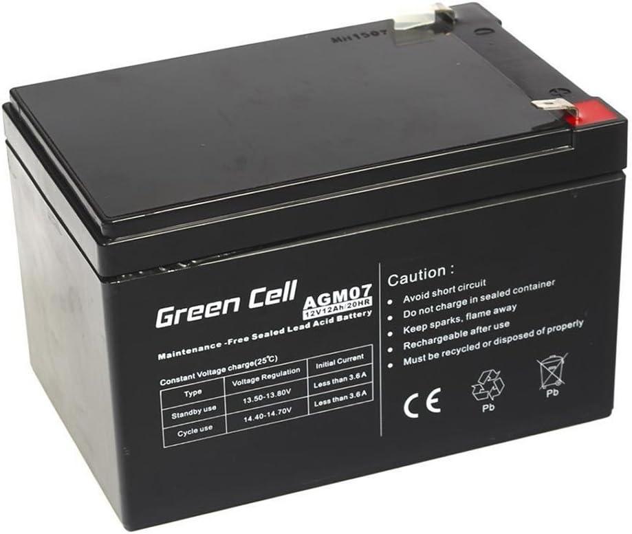 Green Cell® Recambio de Batería AGM (12V 12Ah VRLA Faston F2) Pila sellada de Plomo Acido Recargable Sealed Lead Acid VRLA para alarmas de hogar, Juguetes electricos, Sistemas UPS USV, Solarpanel