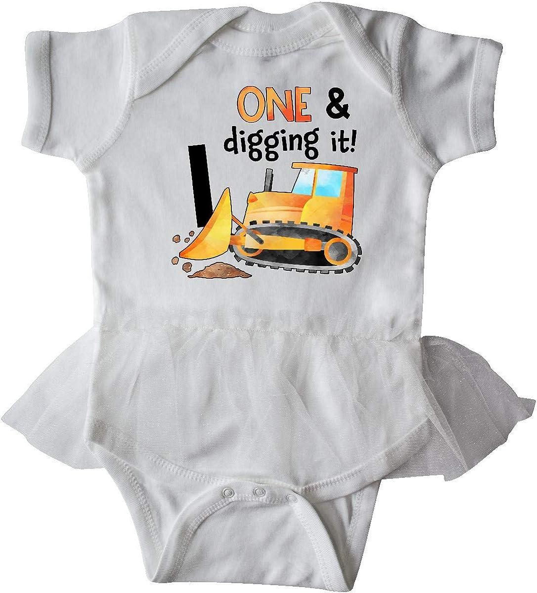 inktastic 1 and Digging It Bulldozer 1st Birthday Infant Tutu Bodysuit