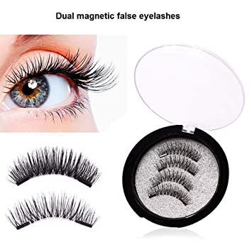 6e050df121d Amazon.com : Dual Magnetic Eyelashes Reusable 3d False Eyelashes Makeup  Glue-Free Fake Magnetic Eyelashes Hand-made Natual lashes Extensions for  Women ...