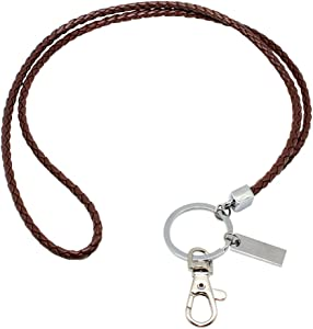 Office Lanyard, Boshiho PU Leather Necklace Lanyard with Strong Clip and Keychain for Keys, ID Badge Holder, USB or Cell Phone (Brown)