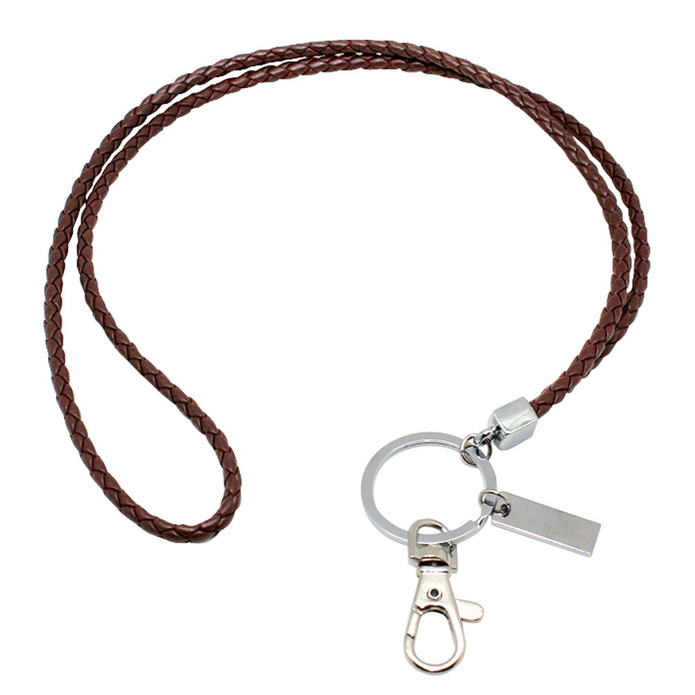 Office Lanyard, Boshiho PU Leather Necklace Lanyard with Strong Clip and Keychain for Keys, ID Badge Holder, USB or Cell Phone (Black 3)