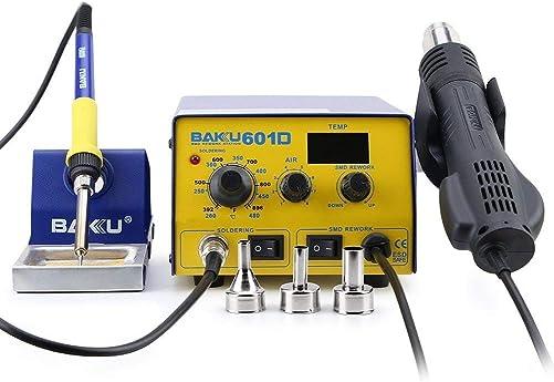 Baku BK-601D Multi-Function Digital Display Brushless Rework Soldering Station, 110V Hot Air Lead-Free Epex Heat Gun