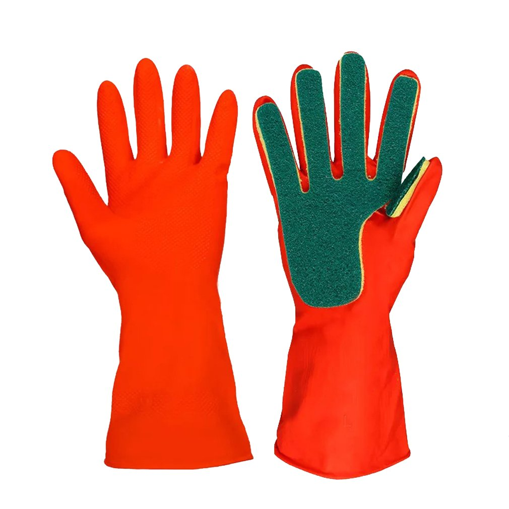 Kitchen Wash Rubber Gloves with Scouring Cloth Sponge On The Inner Fingers, All-in-one for Clean The Kitchen Tool Protect Hand Gloves - AUTOFAN hangzhoulinruiwangluokeji CO. LIMITED