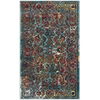Safavieh Crystal Collection CRS515A Light Blue and Orange Distressed Area Rug (3 x 5)