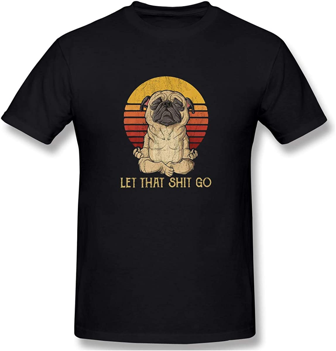 Onlybabycare Let That Shit Go Pug Yoga Men Casual Slim Fit Cotton Short Sleeve T Shirt Summer Tops