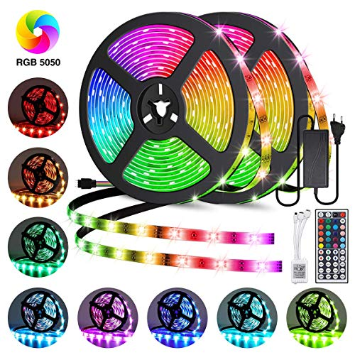 Led Strip Lights 32.8ft, GOADROM IP65 Waterproof Flexible Led Lights Color Changing 5050 RGB 300 LEDs Light Strips Kit with 44 Keys IR Remote Controller and 12V Power Supply for Home, Bedroom, Kitchen (Flexible Led)