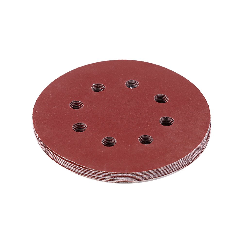 10pcs Round Shape Red Sanding Discs 125mm 8 Hole Grit Sand Papers(800#) Hilitand