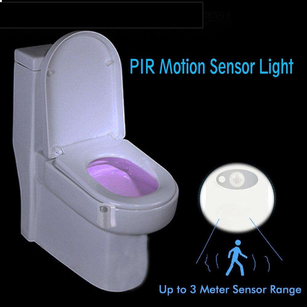 JESWELL WC luz Nocturna LED Luz de Inodoro Luz con Detección de Movimiento del Sensor automático, 8 Cambio de Color, Funciona con Pilas, para Cuartos de ...