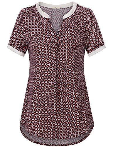 Capri Peasant Top - Bebonnie Women Shirts and Blouse, Fashion Ladies Short Sleeve Paisley Print Peasant Polo Top Tunic Red_Blue XL