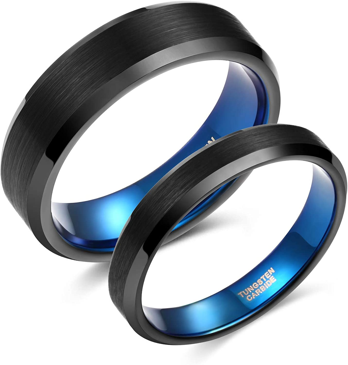 Greenpod 4mm 6mm Wedding Band for Men Women Black Blue Brushed Tungsten Carbide Wedding Rings for Couples Size 4-14