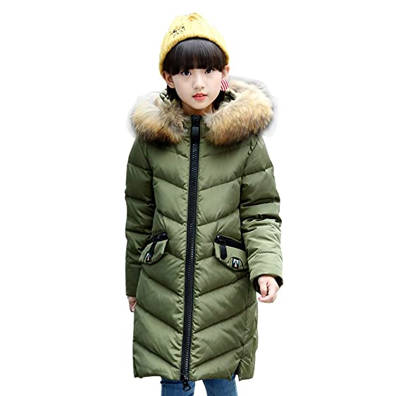 e250fcb5760b Amazon.com  LSERVER Big Girls  Long Winter Parkas White Duck Down ...