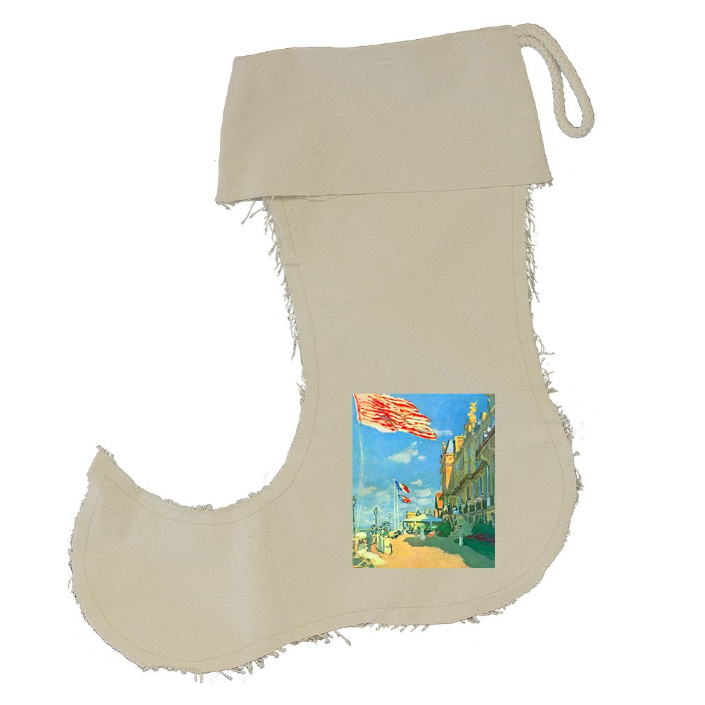 Hotel Roches Trouville #2 (Monet) Cotton Canvas Stocking Jester - Large