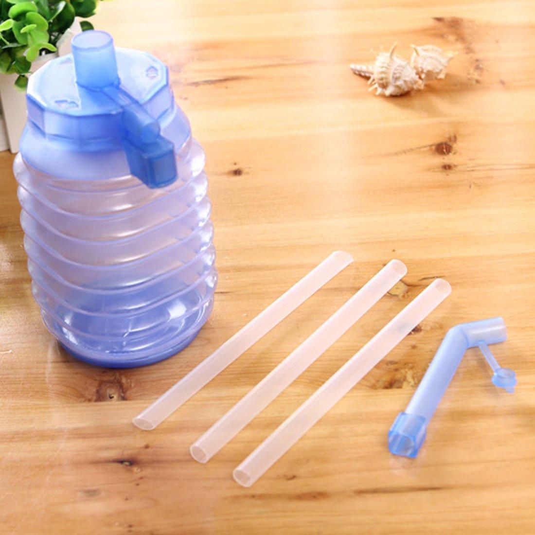 Manual pr/áctico de agua potable embotellada Mano Prensa dispensador de bomba azul