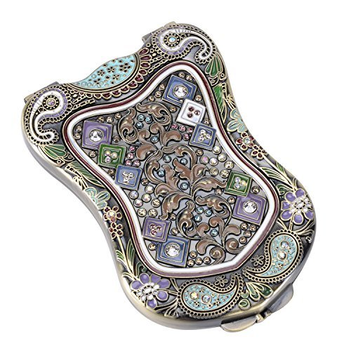 Nerien Women's Magnifying Vintage Foldable Antique-style Shield Vanity Mirror Cosmetic Purse Mirror Portable Travel Mirror Bronze